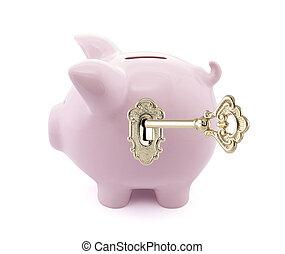 豬一般的銀行, 由于, 黃金, 鑰匙