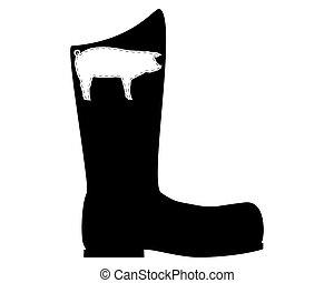 豬皮, 靴子