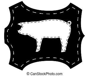豬皮, 黑色半面畫像