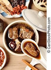 豬肉砍掉, 在, 中國藥, 湯
