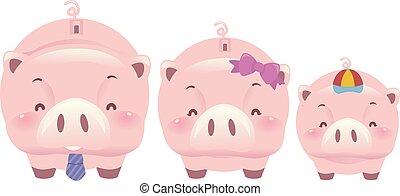 豬, 家庭, 硬幣銀行, 插圖