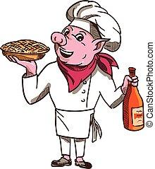 豬, 烹調, 餅, 酒瓶子, 卡通