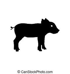 豬, silhouette., 矢量