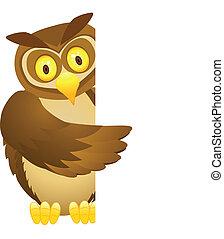 貓頭鷹, 卡通, 由于, 空白徵候