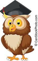 貓頭鷹, 卡通, 穿, 畢業帽子