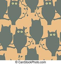 貓頭鷹, 坐, 在一個分支上