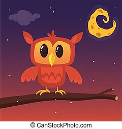貓頭鷹, 背景, 坐, 插圖, 矢量, 分支, 夜晚