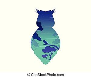 貓頭鷹, 黑色半面畫像, 風景, 美麗, 夜晚
