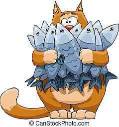 貓, 以及, fish