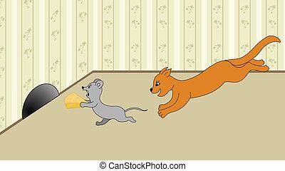 貓, 向上, 抓住, 出逃, 紅的老鼠