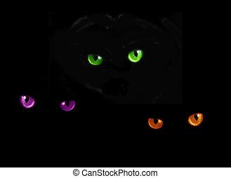 貓, 眼睛, 在, 黑暗