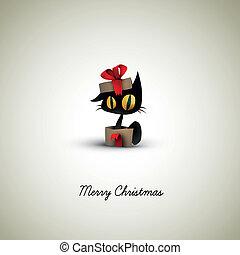 貓, 驚奇, 在, a, 圣誕節禮物, 箱子