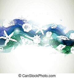 貝殻, ベクトル, 背景