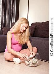 貝殻, 女, 妊娠した, 床