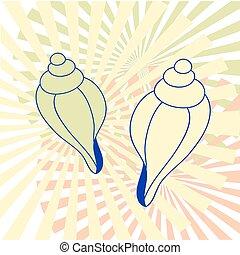 貝殻, 抽象的, ベクトル, 2, 背景