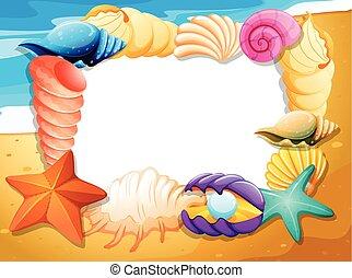 貝殻, 浜, ボーダー, テンプレート