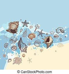 貝殻, 砂, バックグラウンド。