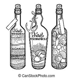 貝殻, 砂, bottles.