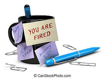 負けた 仕事, 概念, 失業, あなた, ありなさい, 発射される