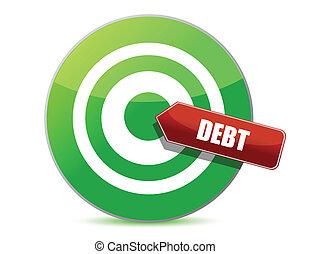 負債, デザイン, ターゲット, イラスト