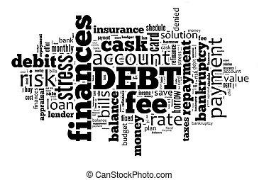 負債, 単語, 雲, 背景