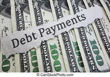 負債, 支払い, ニュース, 見出し