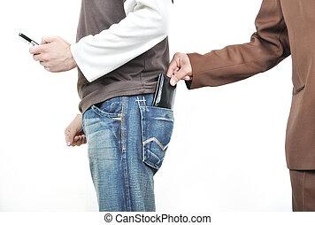 財布, 手, ポケット, 引き, マレ, man., から