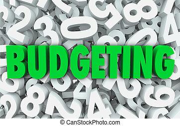 財政, お金, 予算を組む, 数, 背景, 単語, 3d, 計画