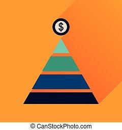 財政, アイコン, ピラミッド, 長い間, 影, 平ら