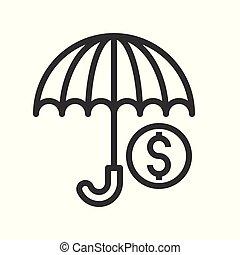 財政, アウトライン, editable, 関係した, ストローク, コイン, アイコン, 傘, 銀行