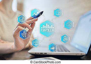 財政, テキスト, concept., screen., 事実上, fintech., インターネットビジネス, 技術