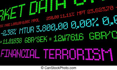 財政, テロリズム, チッカー, 株