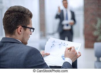 財政, データ, up.businessman, 終わり, 点検