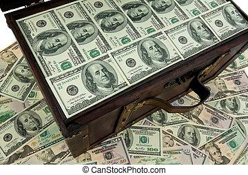 財政, ドル, 紙幣。, 胸, debt., 危機