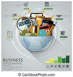 財政, ビジネス, 世界的である, 図, infographic, 円, ラウンド