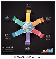 財政, ビジネス, 世界的である, 図, infographic, 矢, 円, ラウンド
