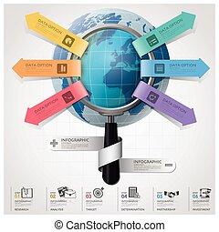 財政, ビジネス, 世界的である, 拡大する, 図, ガラス, infographic, 矢, 円, ラウンド