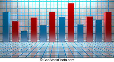 財政, ビジネス, 成功, 提示, チャート, 市場, 株