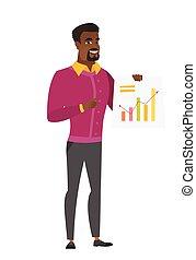 財政, ビジネス, 提示, chart., アフリカの男