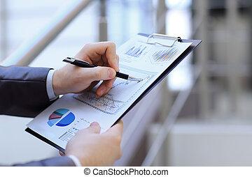財政, ビジネス, 点検, concept., up.businessman, 終わり, statement.