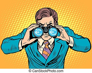 財政, 双眼鏡, 通貨, ビジネスマン, モニタリング, ユーロ