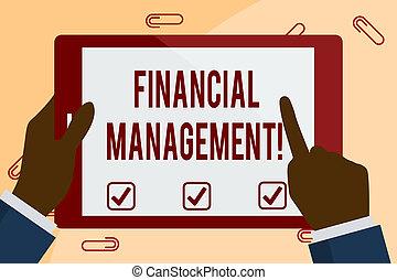 財政, 指すこと, ビジネスの色, 写真, 提示, タブレット, screen., 執筆, メモ, 感動的である, 制御, management., 保有物, showcasing, モニタリング, 白, 手, 資源