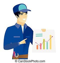 財政, 提示, 若い, chart., アジア人, 機械工