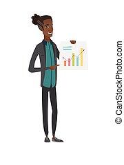 財政, 提示, 若い, chart., アフリカ, ビジネスマン