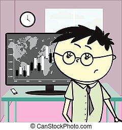 財政, 若い, オフィス, 人, チャート, モニター, 見る