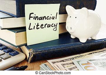 財政, 読み書き能力, 書かれた, 上に, a, スティック, そして, 貯金箱, ∥ように∥, 節約, シンボル。