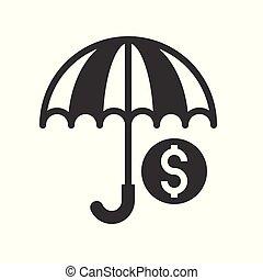 財政, 関係した, 傘, コイン, アイコン, デザイン, 銀行, glyph