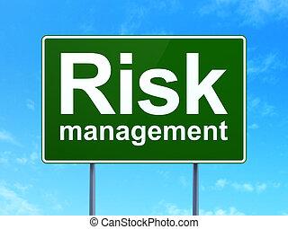 財政, concept:, 風險, 管理, 上, 路標, 背景