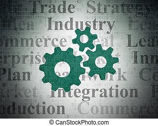 財政, concept:, 齒輪, 上, 數字, 紙, 背景
