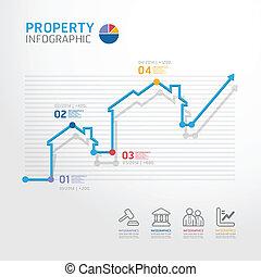 財產商業, 圖形, 線, 風格, 樣板, 為, infographics, 矢量
